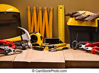 composição, de, trabalhando, ferramentas