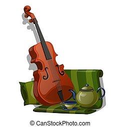 composição, de, violino, verde, tela listrada, e, jogo chá,...