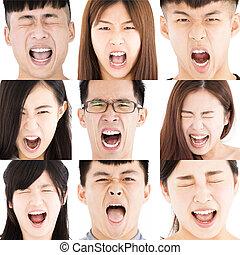 composição, de, zangado, asiático, jovens