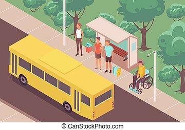 composição, parada, ao ar livre, autocarro