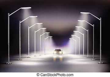 composição, realístico, rua, luzes de nevoeiro