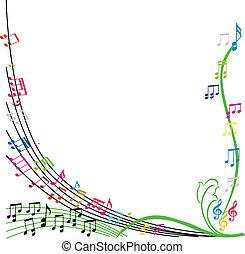 composição, vecto, notas, tema, fundo, música, elegante, musical
