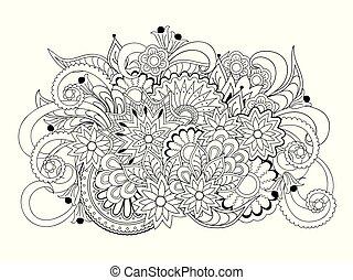 composición, aislado, flores, mandalas, arabesco