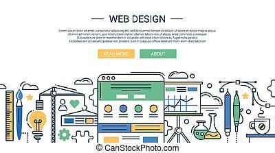 composición, bandera, elementos, diseño, sitio web, tools., línea, infographics, plano, sitio., su, ilustración, moderno, encabezamiento, desarrollo