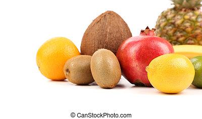 composición, blanco, aislado, plano de fondo, fruits