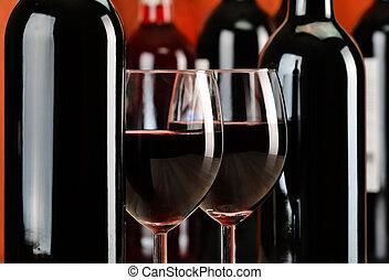 composición, con, anteojos, y, botellas de vino