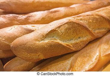 composición, con, bread, y, rollos, en la exhibición