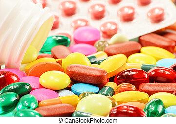 composición, con, suplemento dietético, cápsulas, y, droga,...