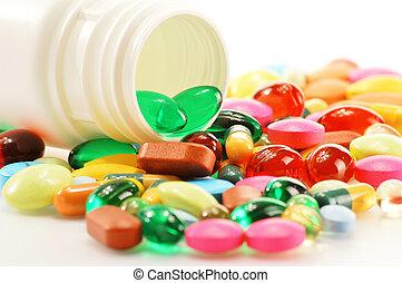 composición, con, suplemento dietético, cápsulas, y, droga, píldoras