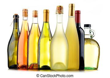 composición, con, variado, botellas de vino