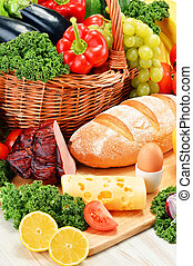 composición, con, variado, orgánico, tienda de comestibles,...
