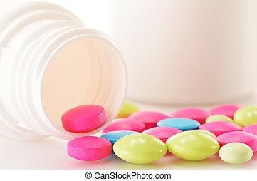 composición, con, variedad, de, droga, píldoras, y, dietético, suplementos