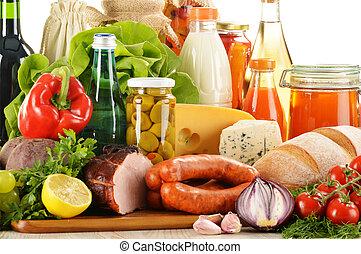 composición, con, variedad, de, tienda de comestibles,...