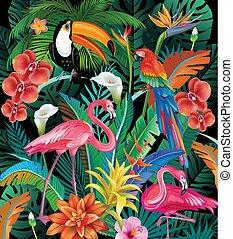 composición, de, flores tropicales, y, aves