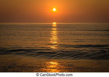 composición, encima, Océano, salida del sol, naturaleza