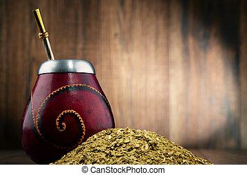 composición, hojas, compañero, yerba, taza