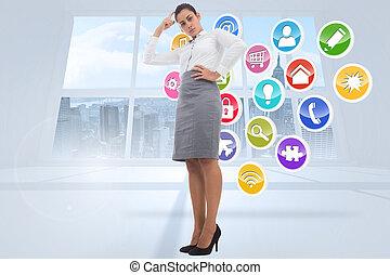 composiet, businesswoman, beeld, geconcentreerde
