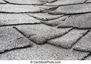 composiet, oud, beschadigen, dak