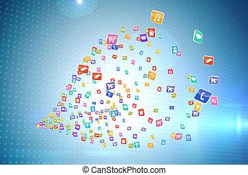 composiet, toepassingen, beeld, computer, kleurrijke