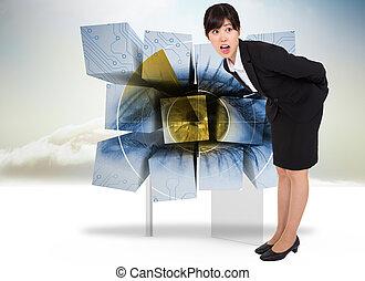 composiet, verbuiging, verwonderd, businesswoman, beeld