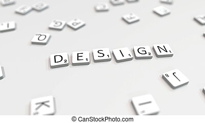Composing DESIGN word with letters. 3D rendering