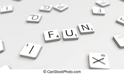 Composing FUN word with letters. 3D rendering