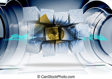 composite, écran, résumé, image, oeil