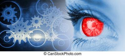 composite, bleu, image, oeil, visage rouge