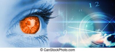 composite, bleu, orange, image, oeil, figure