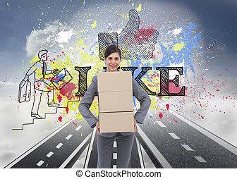 composite, boîtes, porter, sourire, femme affaires, image, carton