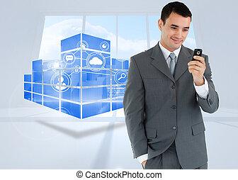 composite, cellphone, sien, regarder, sourire, homme affaires, image