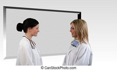 composite, conversation, deux, médecins