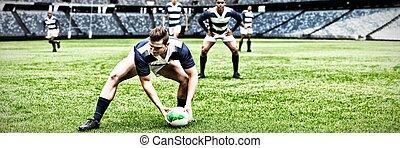 composite, cueillette, joueur rugby, stade, image numérique...