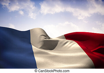 composite, drapeau ondulant, image, france
