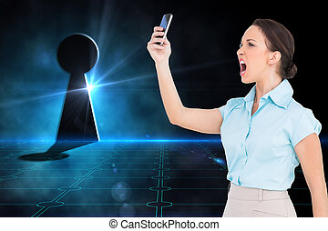 composite, elle, chic, fâché, femme affaires, image, hurlement, smartphone