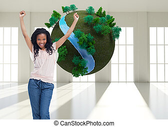 composite, elle, debout, air, mains, heureux, image, femme, jeune