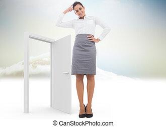 composite, femme affaires, image, pensif, sourire