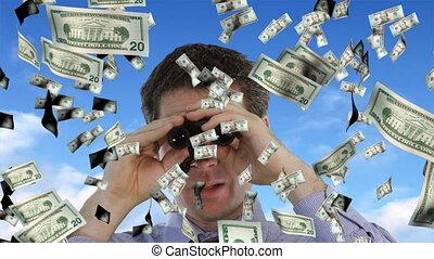 Businessman Looking at Dollars Falling
