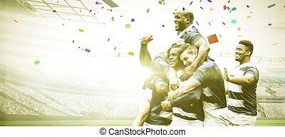 composite, gagner, rugby, stade, image numérique, joueurs ...