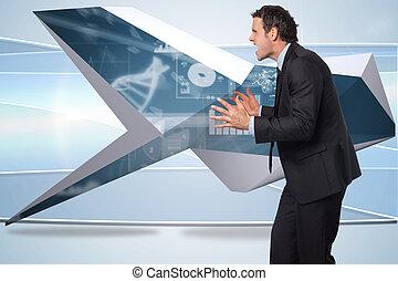 composite, homme affaires accentué, image, faire gestes