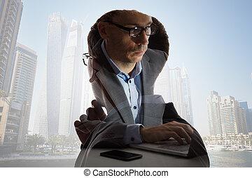composite, homme affaires, bâtiments, numérique