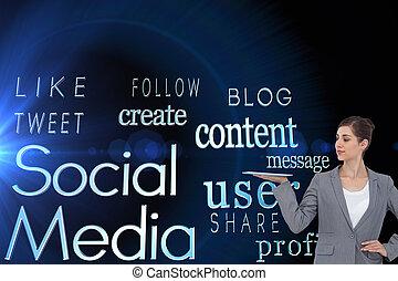 composite image, i, businesswoman, holde, tablet, computer