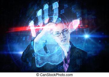 composite image, i, businesswoman, tænkning