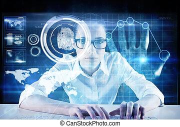 composite image, i, businesswoman, typing, på, en, klaviatur