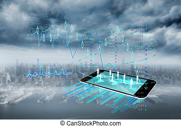 composite image, i, data, analyse, baggrund