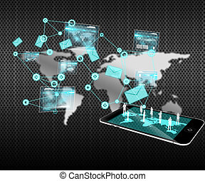 composite image, i, data, analyse, grænseflade, baggrund