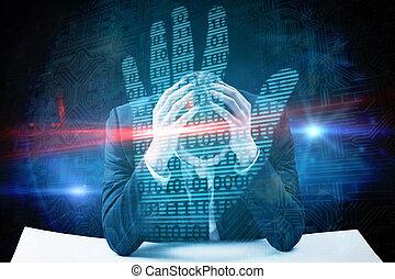 composite image, i, forretningsmand, hos, hovede hænder