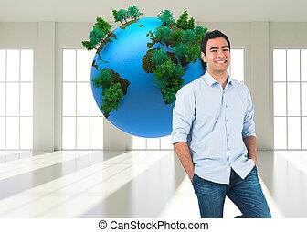 composite image, i, smil, henkastet, mand stå