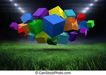 Composite image of 3d colourful cub