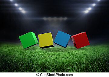 Composite image of 3d colourful cubes in a row